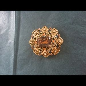Jewelry - Florenza Rhinestones brooch pendant VTG Signed